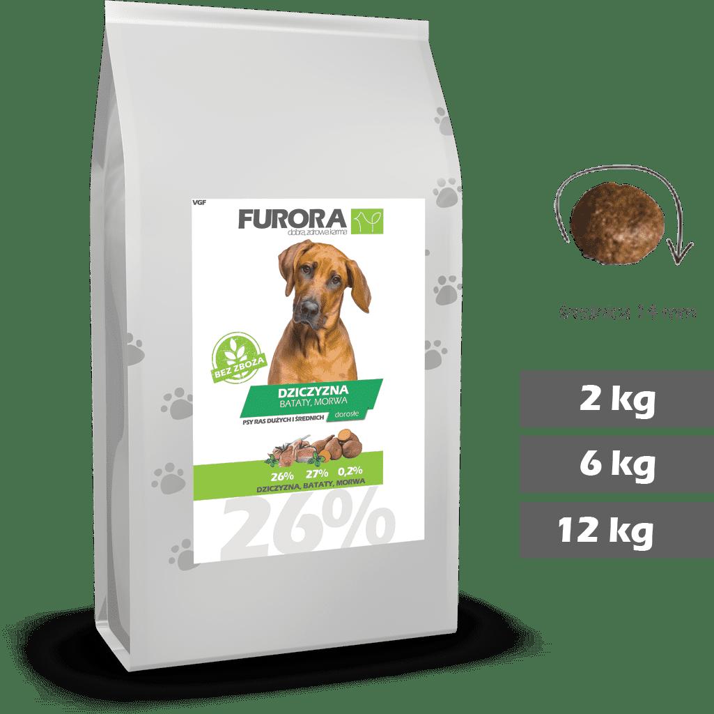 worek karmy z dziczyzną, batatami i morwą dla psów ras dużych i średnich. Średnica chrupka 14mm. Warianty 2kg, 6kg, 12kg.