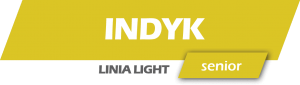 napis na żółtym tle indyk, linia light, seniorIndyk bataty żurawina senior