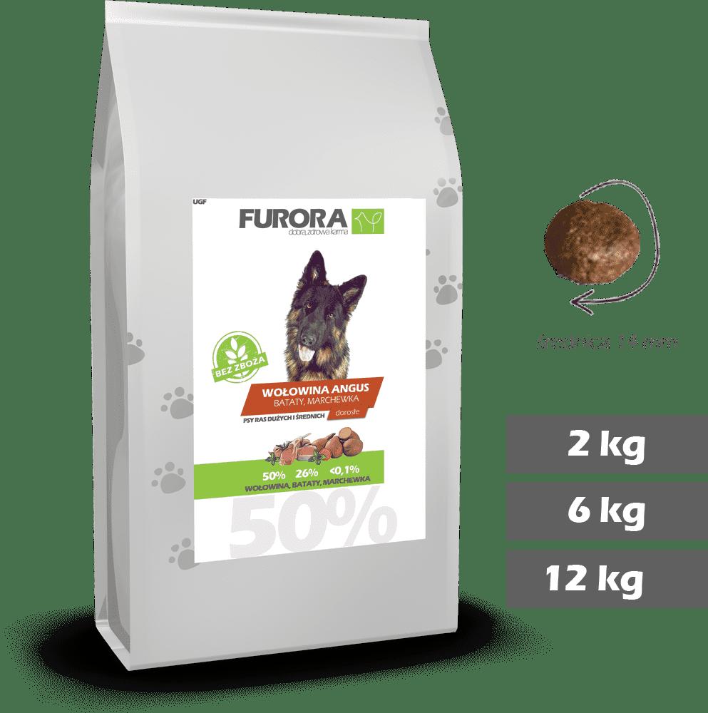 worek karmy z wołowiną angus, batatami i marchewką dla psów ras dużych i średnich. Średnica chrupka 14mm. Warianty 2kg, 6kg, 12kg.