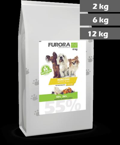 worek karmy z kurczakiem, batatami i ziołami dla psów ras małych. Warianty 2kg, 6kg, 12kg.