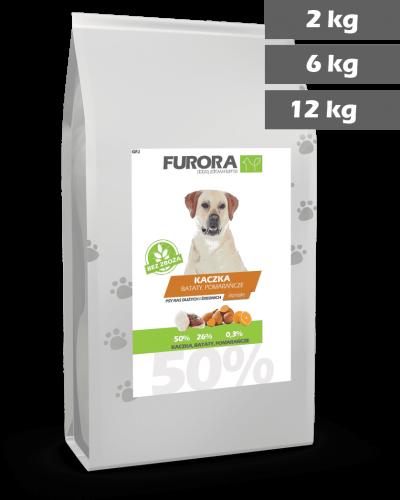 worek karmy z kaczką, batatami i pomarańczami dla psów ras dużych i średnich. Średnica chrupka 2,4cm,. Warianty 2kg, 6kg, 12kg.