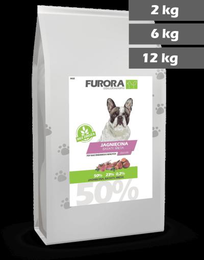worek karmy z jagnięciną, batatami i miętą dla psów ras małych i średnich. Średnica chrupka 2,4cm. Warianty 2kg, 6kg, 12kg.